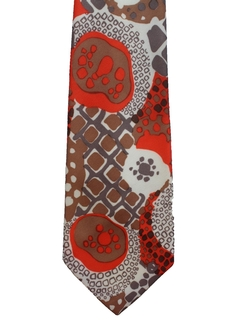 1970's Mens Abstract Wide Disco Necktie