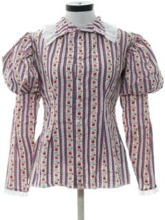 1970's Womens Victorian Style Prairie Shirt