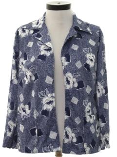 1970's Womens Print Disco Style Shirt-Jac Shirt