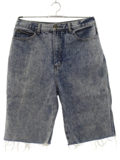 1980's Mens Totally 80s Cut Off Acid Wash Denim Shorts