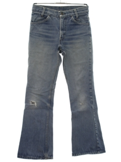 1970's Mens Distressed Levis Bellbottom Denim Jeans Pants