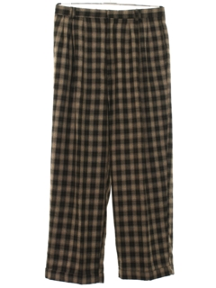 1980's Mens Totally 80s Pleated Baggy Plaid Slacks Pants