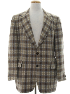 1970's Mens Mod Plaid Blazer Sport Coat Jacket