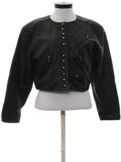 1980's Womens Totally 80s Vinyl Faux Leather Jacket