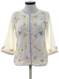 1980's Womens Embroidered Hippie Shirt