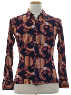 1970's Mens/Boys Mod Print Disco Shirt