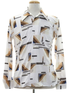 1970's Mens Abstract Geometric Print Disco Shirt