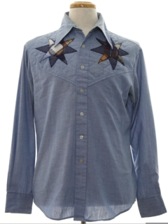 1970's Mens Chambray Hippie Western Shirt