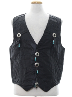 1980's Mens Western Leather Vest