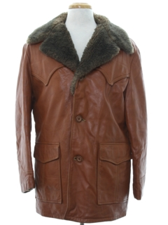 1970's Mens Western Style Leather Car Coat Jacket