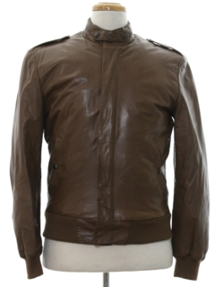 1980's Mens Totally 80s Cafe Racer Leather Jacket