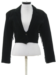 1980's Womens Totally 80s Fringed Suede Leather Jacket
