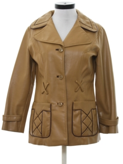 1970's Womens Vinyl Car Coat Jacket