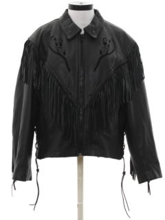 1990's Womens Western Leather Fringe Jacket