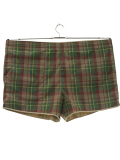 1980's Mens Mod Preppy Reversible Swim Shorts