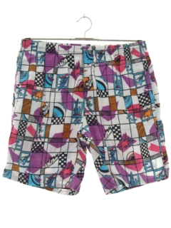 1980's Mens Totally 80s Print Baggy Swim Shorts