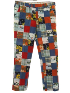 1970's Mens Patchwork Plaid Golf Style Slacks Pants