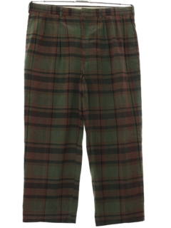 1980's Mens Totally 80s Preppy Plaid Plaid Golf Style Slacks Pants