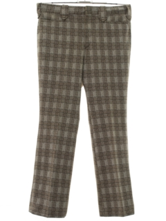 1970's Mens Flared Western Style Plaid Leisure Pants