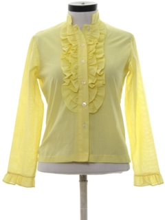 1970's Womens Ruffled Secretary Shirt
