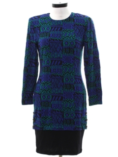 1980's Womens Totally 80s Knit Wiggle Dress
