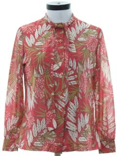 1970's Womens Print Secretary Style Shirt