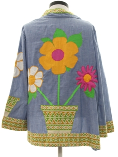 1970's Womens Mod Chambray Appliqued Pow-Flower Hippie Shirt