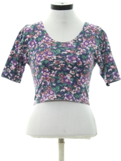 1980's Womens Totally 80s Floral T-Shirt