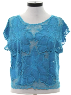 1980's Womens Totally 80s Lace Over Shirt