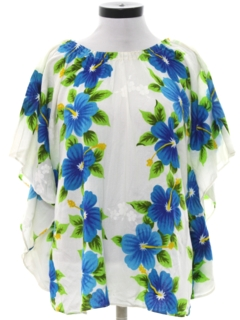 1960's Womens Hawaiian Hippie Style Butterfly Shirt
