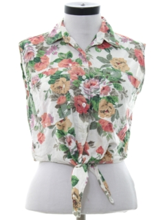1980's Womens Totall 80s Look Cropped Shirt