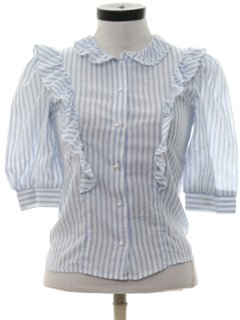 1980's Womens Ruffled Front Totally 80s Shirt