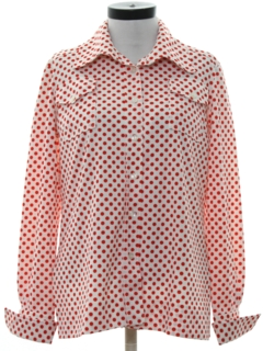 1970's Womens Mod Print Polka Dot Shirt