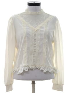 1980's Womens Totally 80s Ruffled Front Lace Shirt