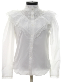 1980's Womens Totally 80s Ruffled Front Western Style Secretary Shirt