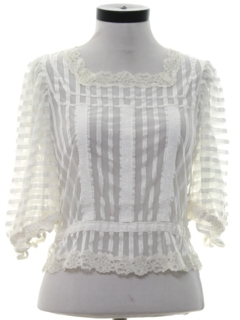 1980's Womens Totally 80s Ruffled and Lace Shirt