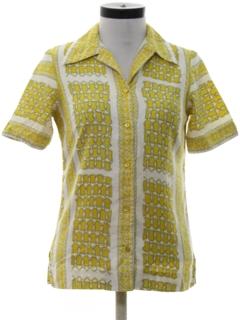 1970's Womens Mod Print Sport Shirt
