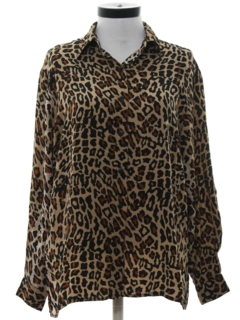 1980's Womens Totally 80s Leopard Animal Print Shirt
