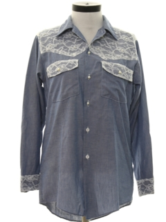 1980's Womens Totally 80s Western Style Chambray Shirt