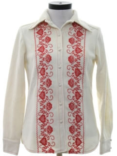 1970's Womens Embroidered Hippie Leisure Shirt