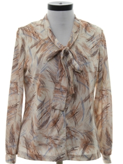 1970's Womens Print Secretary Style Disco Shirt
