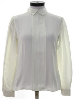 1980's Womens Totally 80s Pleated Front Secretary Shirt