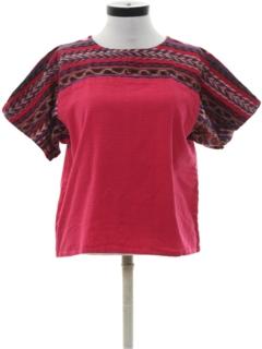 1980's Womens Guatemalan Style Hippie Shirt