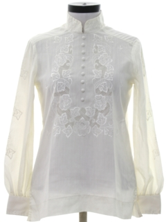 1980's Womens Embroidered Secretary Shirt