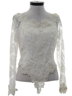 1980's Womens Totally 80s Lace Cocktail Shirt