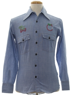 1970's Mens Embroidered Chambray Western Hippie Shirt