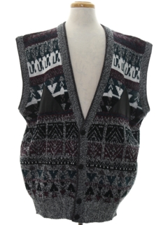1980's Mens Totally 80s Cosby Style Sweater Vest