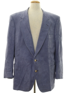 1980's Mens Faux Suede Leather Blazer Sportcoat Jacket