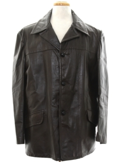 1970's Mens Mod Leather Coat Jacket