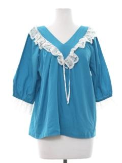 1970's Womens Ruffled Peasant Style Shirt